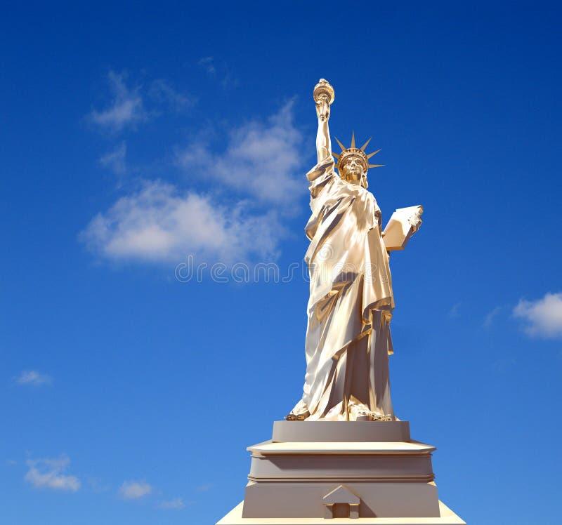 statue de l'or 3d de la liberté illustration stock