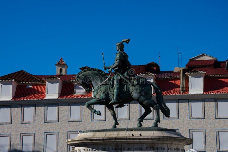 Statue de l'equestre De Dom Joao du Roi John ' Estatua I photographie stock libre de droits
