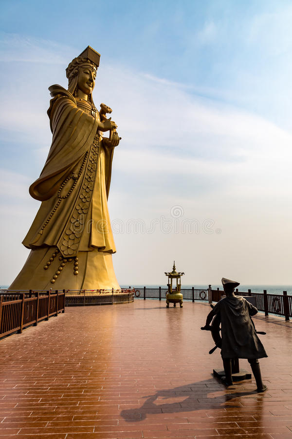 Statue de la déesse Matsu, Qingdao de mer photographie stock