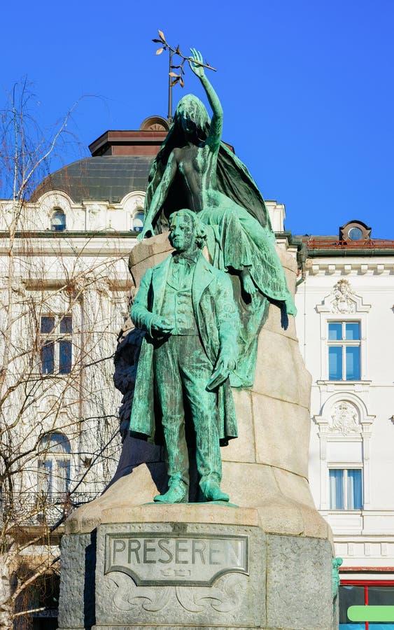 Statue de la France Preseren sur la place de Presernov Trg à Ljubljana photo libre de droits