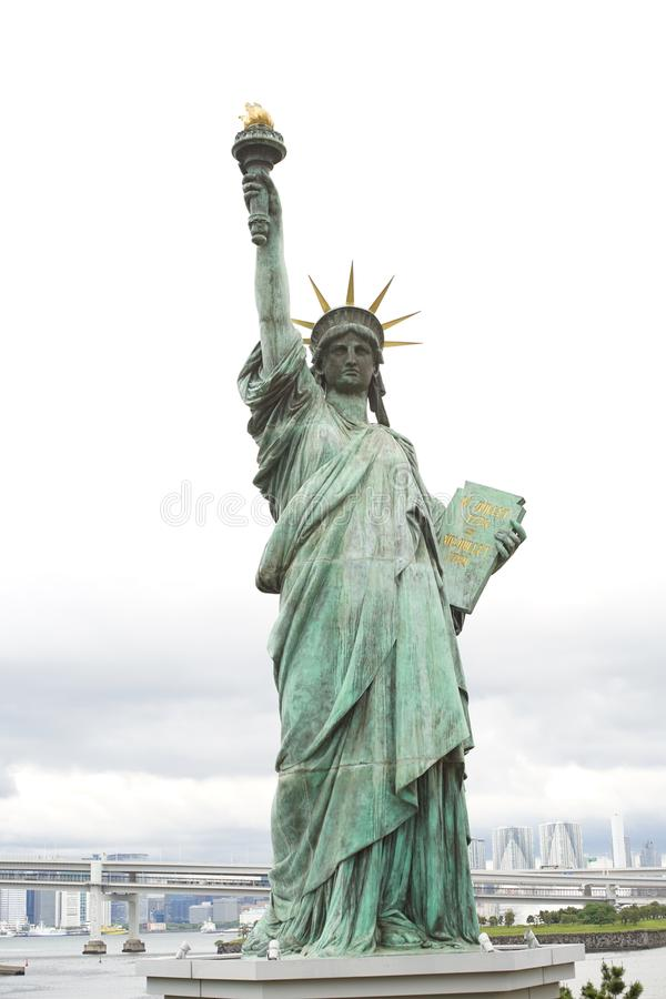 Statue de la liberté à l'île Japon d'Odaiba photographie stock libre de droits