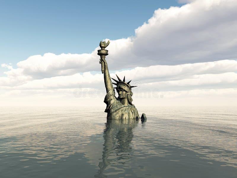 Statue de la liberté après un cataclysme illustration de vecteur