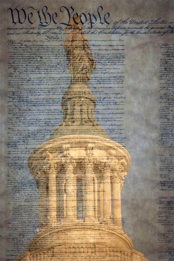 Statue de la liberté au bâtiment de capitol des Etats-Unis dans Washi image stock