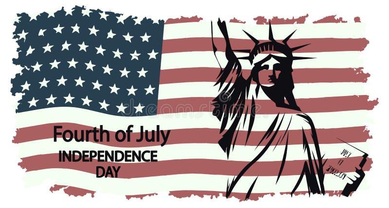 Statue de la liberté dans la perspective du drapeau national des Etats-Unis dans le grunge de style illustration libre de droits