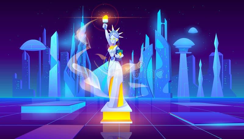 Statue de la Liberté néon ville contexte futuriste illustration libre de droits