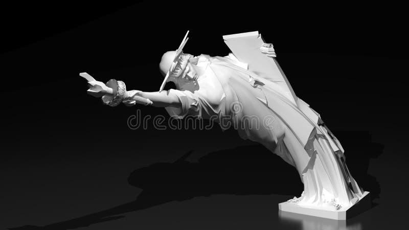 Statue de liberté pliée vers le bas illustration de vecteur