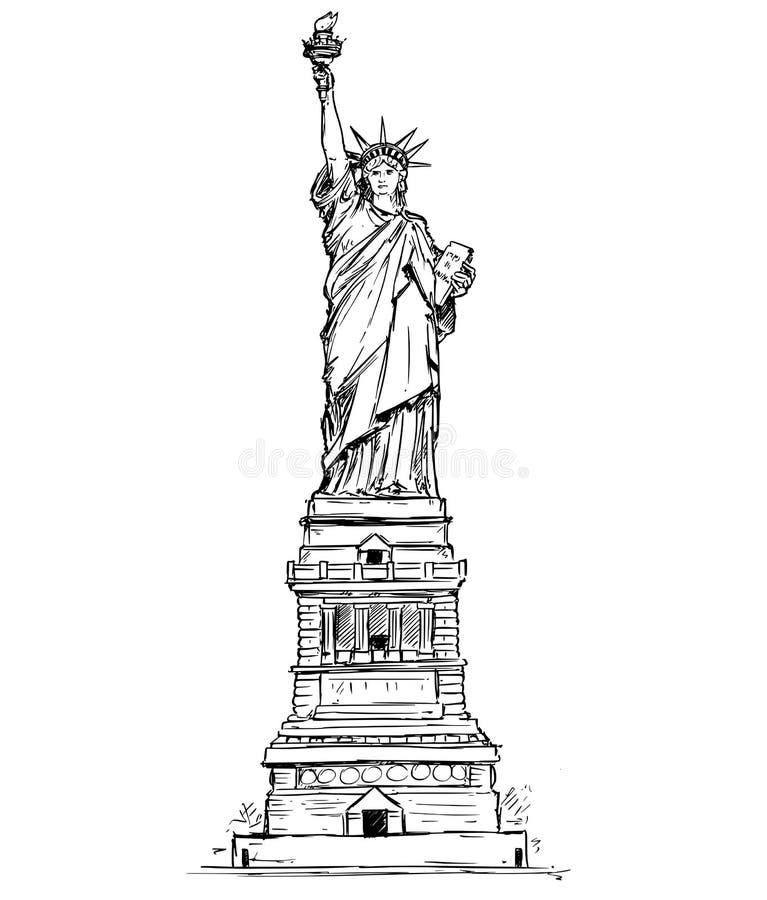 Statue de Liberty Hand Drawing illustration de vecteur