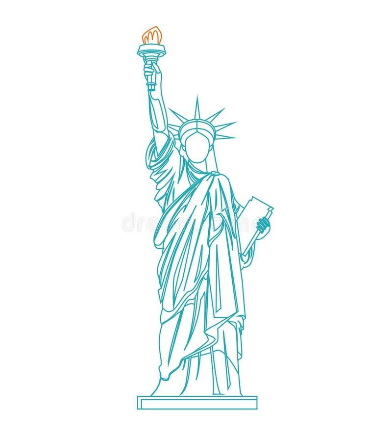 Statue de Liberty Thin Line Vecteur illustration de vecteur