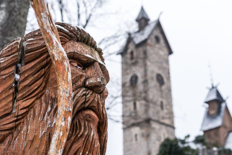 Statue de Liczyrzepa devant Wang Temple image stock
