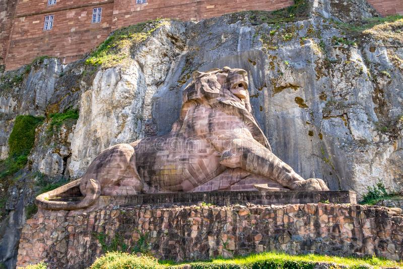 statue de lion de la forteresse de Belfort France images stock