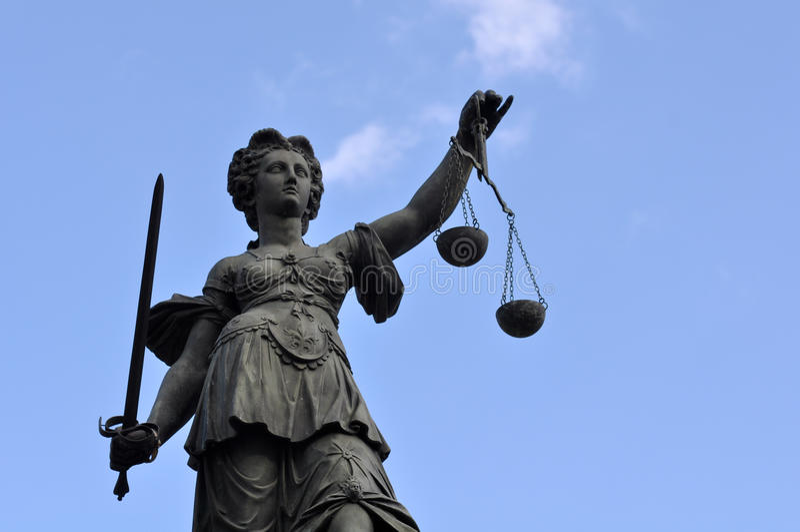 Statue de Madame Justice à Francfort Allemagne photo stock