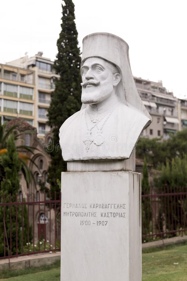 Statue de marbre de buste de Germanos Karavangelis, évêque métropolitain de Kastoria, Salonique, Grèce images stock