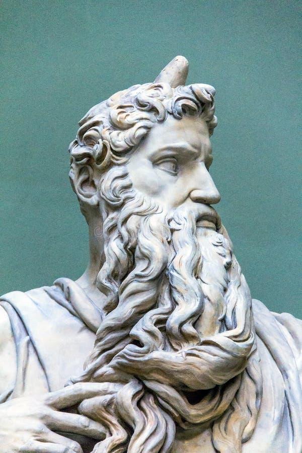 Statue de marbre de Moïse par Michaël Angelo, 1513-1515 détail photo stock