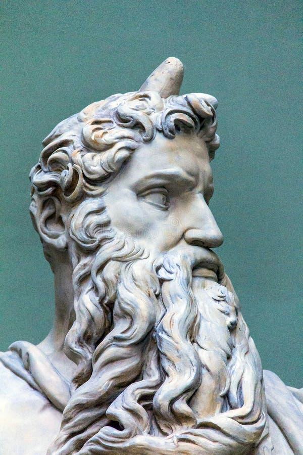 Statue de marbre de Moïse par Michaël Angelo, 1513-1515 détail photographie stock
