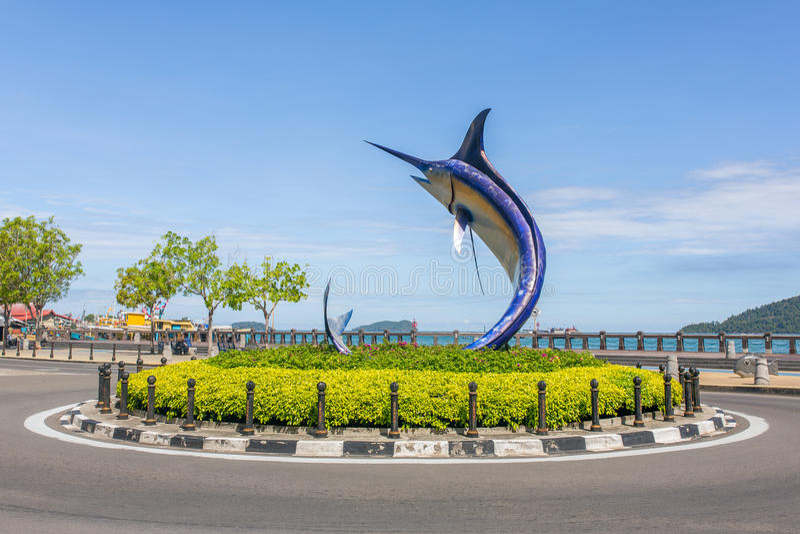 Statue de Marlin en Kota Kinabalu, Malaisie photo libre de droits