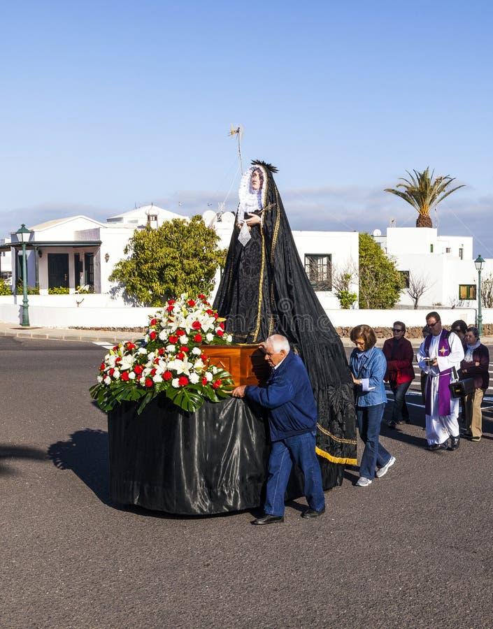 Statue de Mary sainte au cortège de Pâques dans Yaiza, Lanzarote images stock