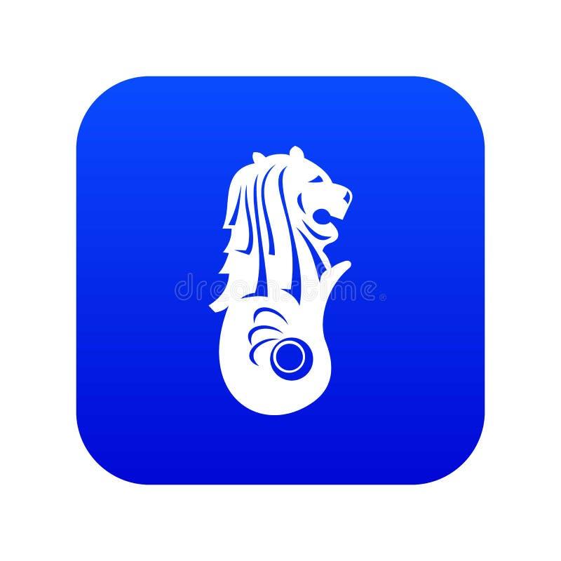 Statue de Merlion, bleu numérique d'icône de Singapour illustration stock