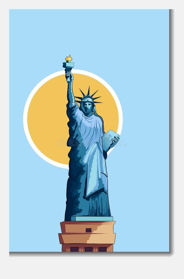 Statue de monument d'architecture d'affiche de liberté illustration de vecteur