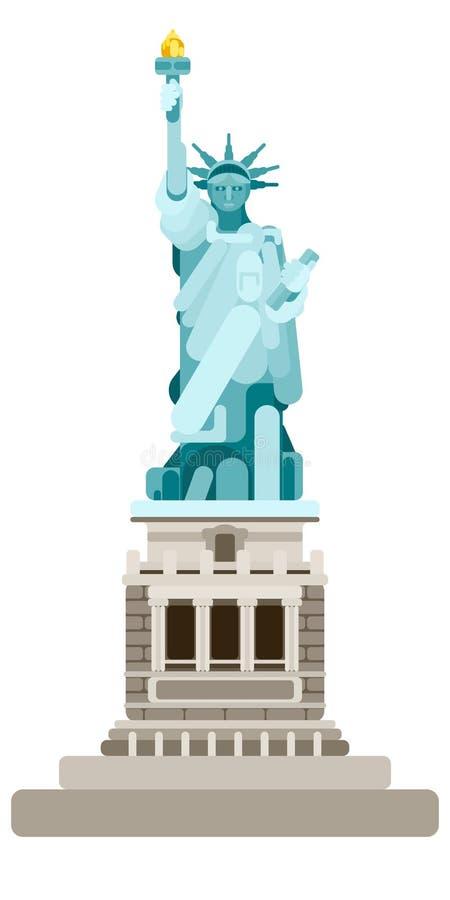 Statue de monument de la liberté américaine sur un blanc illustration libre de droits