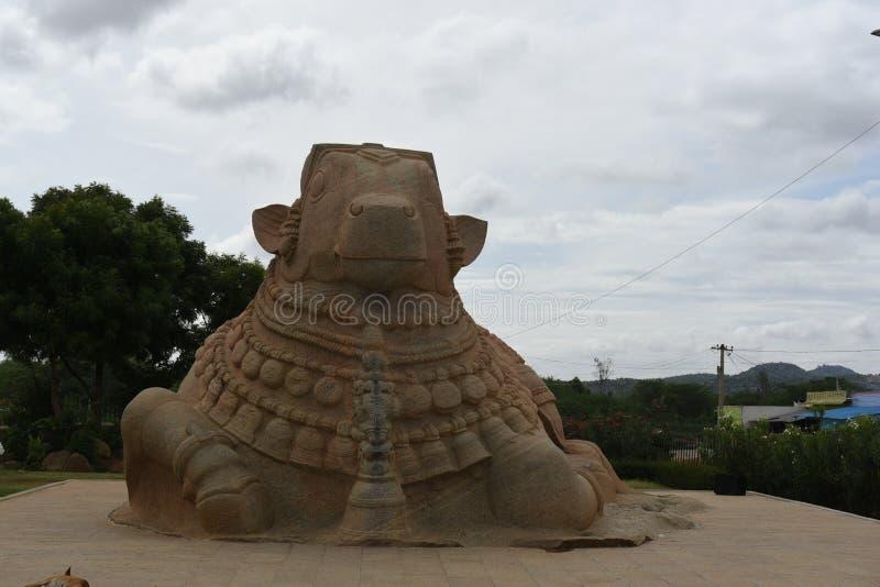 Statue de Naandi, Inde de Lepakshi photos libres de droits