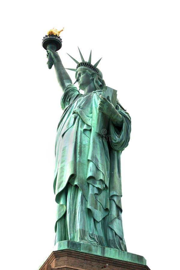 Statue de NY de la liberté célèbre d'isolement sur le blanc, Etats-Unis image stock