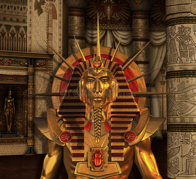 Statue de pharaon dans la chambre d'enterrement illustration libre de droits