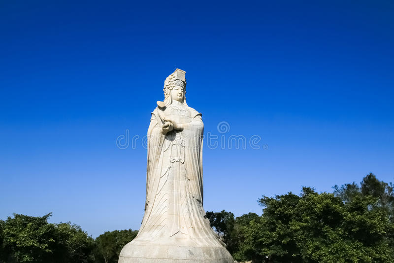 Statue de pierre de Mazu, un dieu chinois de mer photos libres de droits