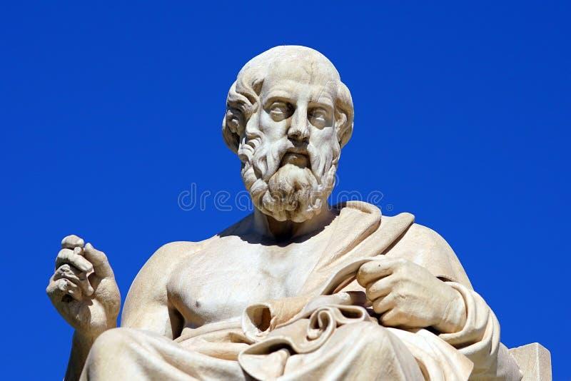 Statue de Platon et d'Athéna devant Athene University photo stock