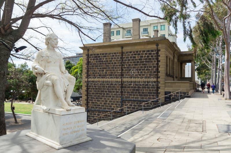 Statue de prince Albert, plus tard le Roi Edward VII, par le bureau de douane de Geelong photographie stock libre de droits