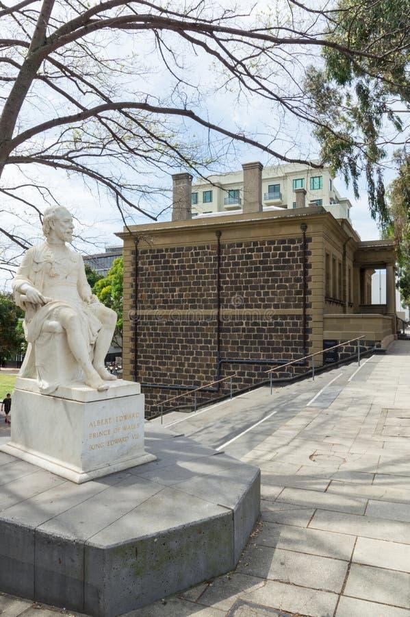 Statue de prince Albert, plus tard le Roi Edward VII, par le bureau de douane de Geelong image libre de droits