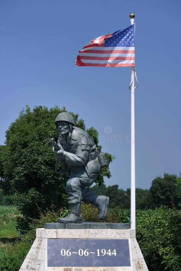 Statue de Richard Winters près de plage de l'Utah images libres de droits