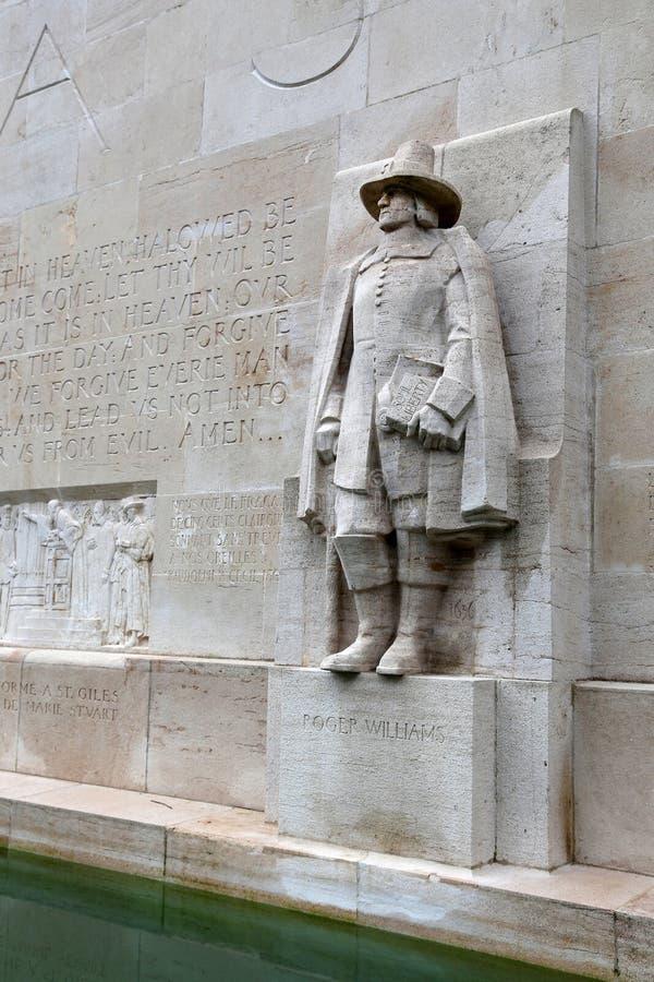 Statue de Roger Williams dans le ` de mur de réforme de ` images libres de droits