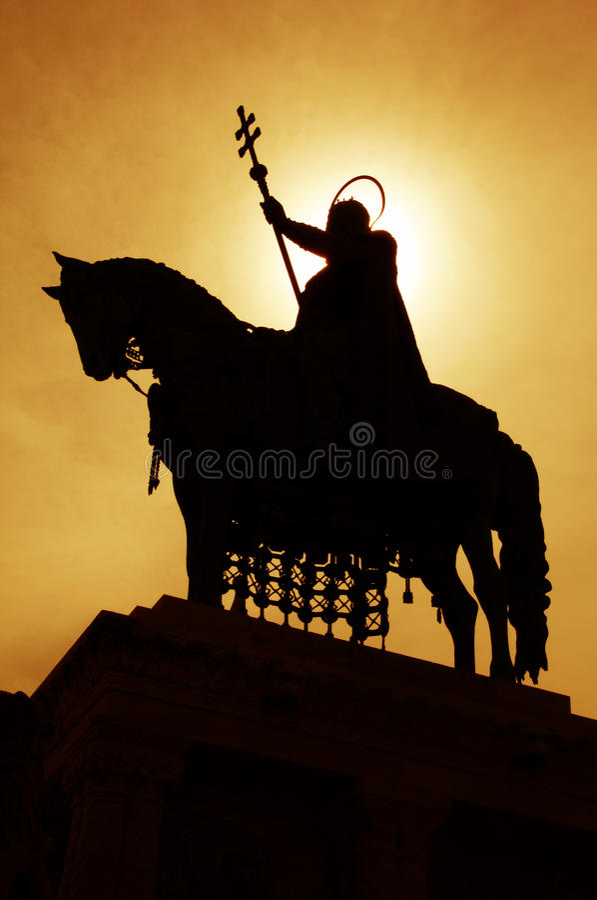 Statue de rue stephen - silhouette image stock