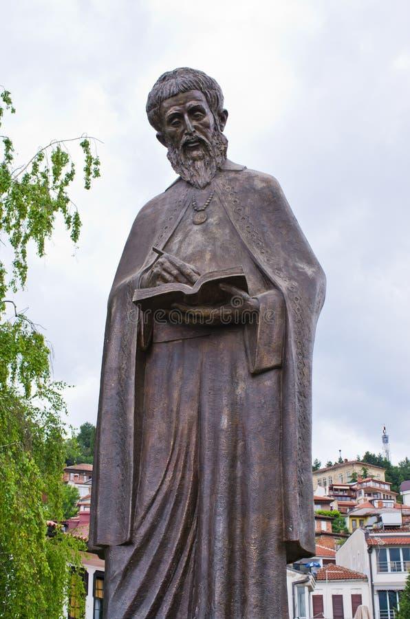 Statue de saint Cyrille - Ohrid, Macédoine photographie stock libre de droits
