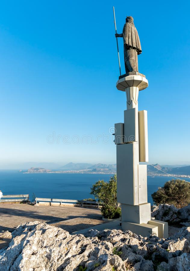 Statue de saint Rosalia en Monte Pellegrino, Palerme, Sicile image stock