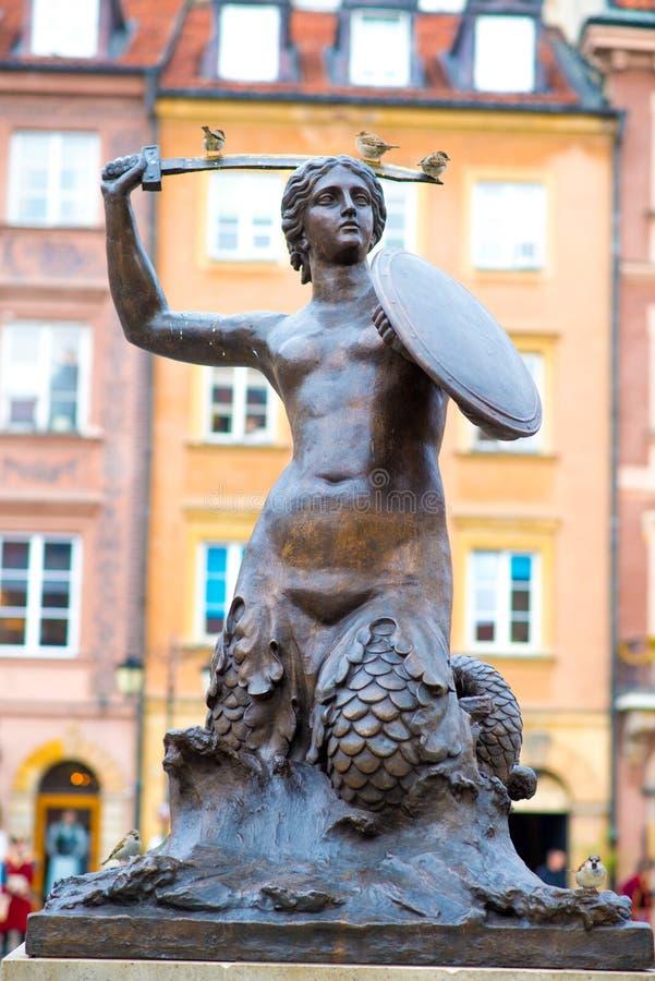 Statue de sirène de Varsovie images stock
