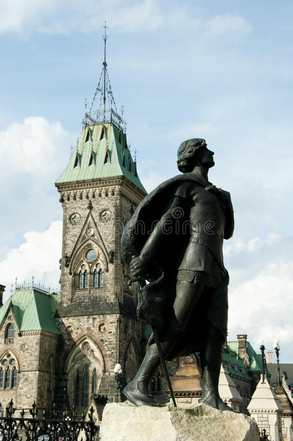 Statue de Sir Galahad en l'honneur de harpiste - Ottawa - Canada photos libres de droits