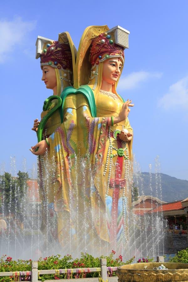Statue de trois corps du mazu chinois de déesse de mer, adobe RVB image stock