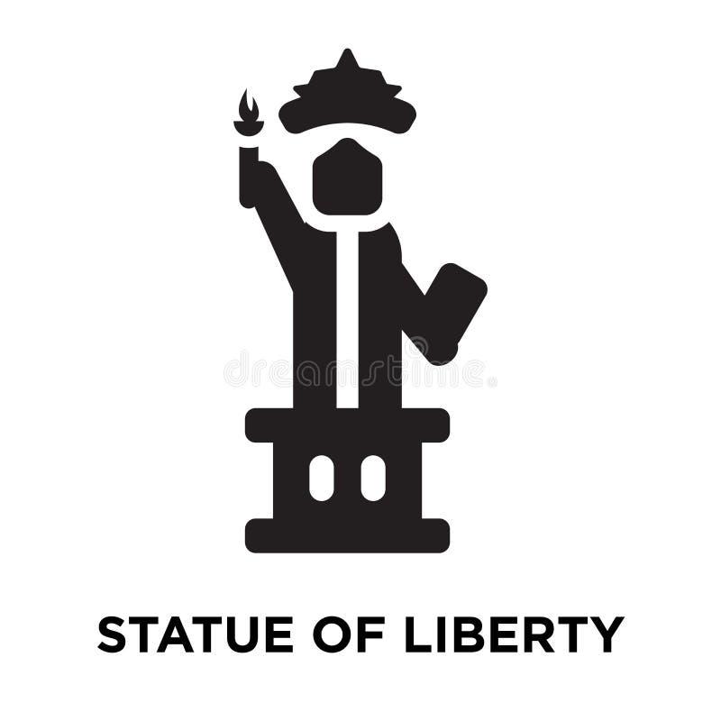 Statue de vecteur d'icône de liberté d'isolement sur le fond blanc, logo illustration libre de droits