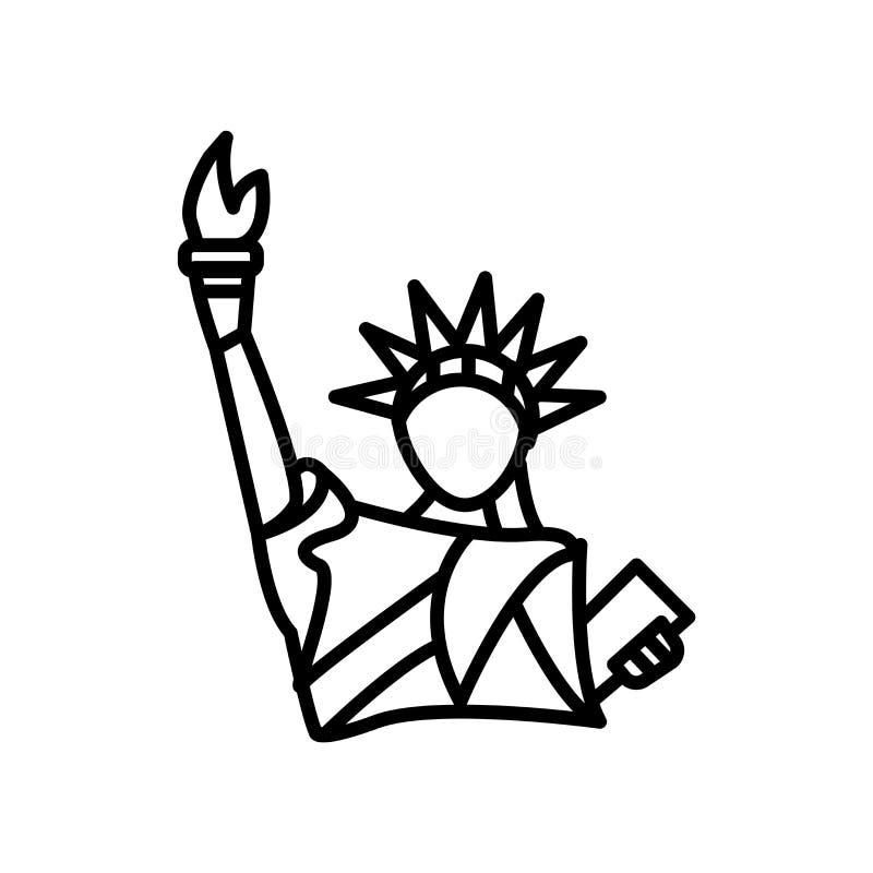 Statue de vecteur d'icône de liberté d'isolement sur le fond blanc, statue de signe de liberté, ligne ou signe linéaire, concepti illustration de vecteur
