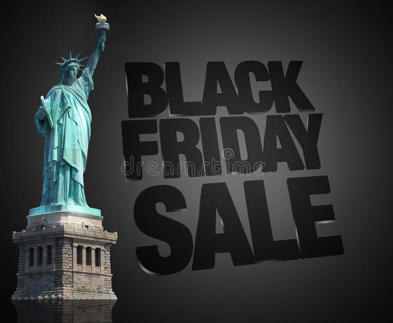 Statue de vente de Black Friday de la liberté Etats-Unis illustration stock