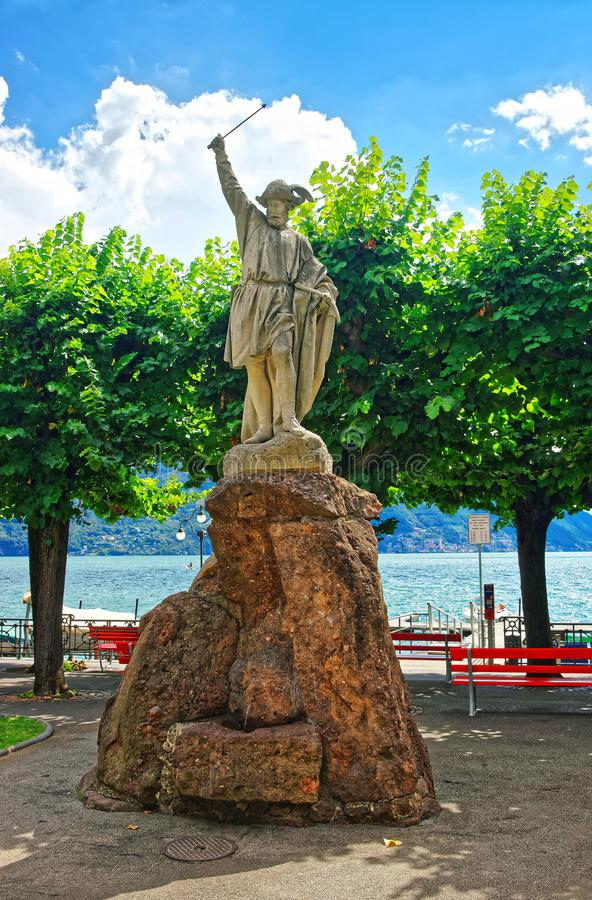 Statue de William Tell à la promenade à Lugano Tessin Suisse photographie stock