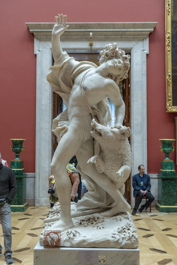 Statue of the Death of Adonis in The Hermitage St Petersburg Russia. stock images