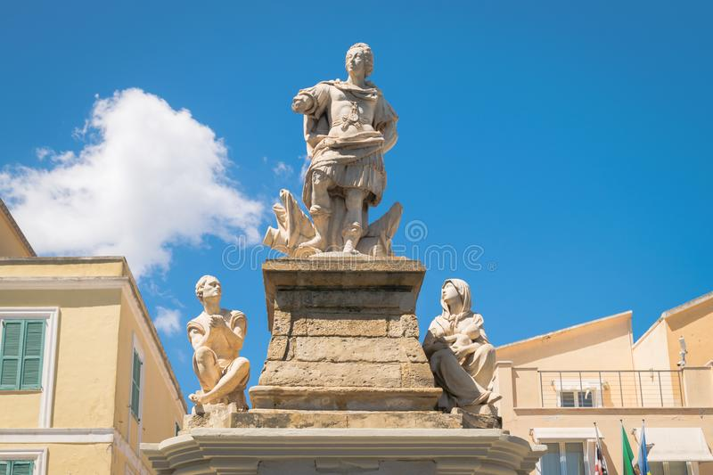 Statue dedicated to King Vittorio Emanuele third erected in Carl stock photography