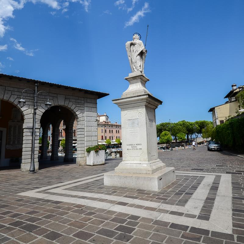 Statue dedicated to 16th-century Saint Angela Merici, holy patron of Desenzano del Garda royalty free stock photography