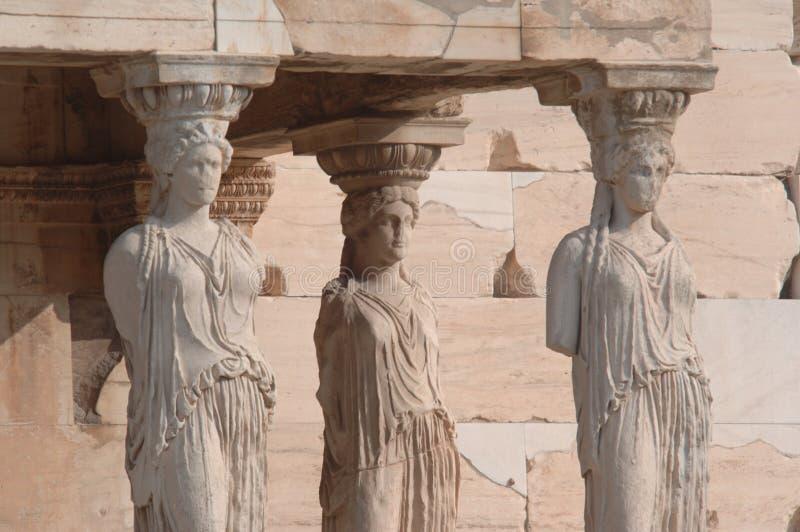 Statue dell'acropoli fotografia stock