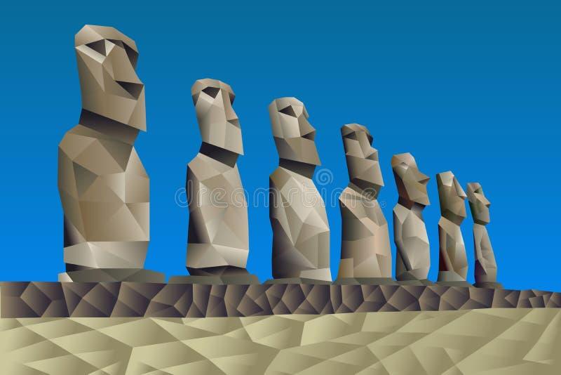 Statue dell'isola di pasqua illustrazione vettoriale