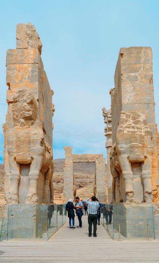 Statue della testa di cavallo Persepolis era la capitale cerimoniale dell'impero di achemenide immagine stock