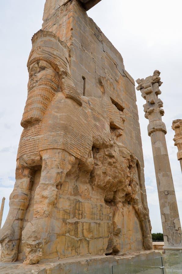 Statue della testa di cavallo Persepolis era la capitale cerimoniale dell'impero di achemenide fotografia stock