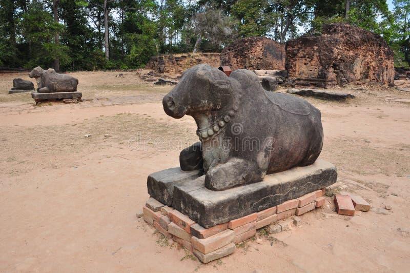 Statue der Heiligkuh in Tempel Preah Ko, Kambodscha stockbild